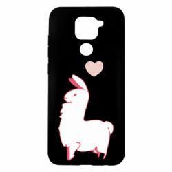 Чехол для Xiaomi Redmi Note 9/Redmi 10X Alpaca with a heart