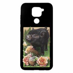 Чехол для Xiaomi Redmi Note 9/Redmi 10X Black pig and flowers