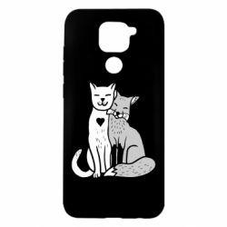 Чехол для Xiaomi Redmi Note 9/Redmi 10X Fox and cat heart