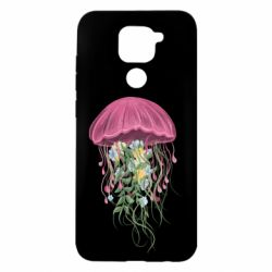 Чехол для Xiaomi Redmi Note 9/Redmi 10X Jellyfish and flowers