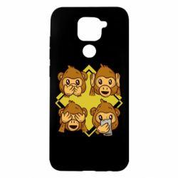 Чехол для Xiaomi Redmi Note 9/Redmi 10X Monkey See Hear Talk