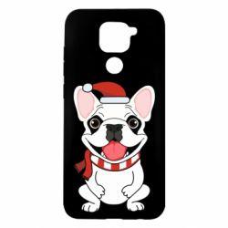 Чехол для Xiaomi Redmi Note 9/Redmi 10X New Year's French Bulldog