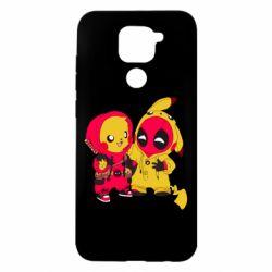 Чехол для Xiaomi Redmi Note 9/Redmi 10X Pikachu and deadpool