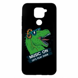 Чехол для Xiaomi Redmi Note 9/Redmi 10X The dinosaur yells! music on  let's play dude
