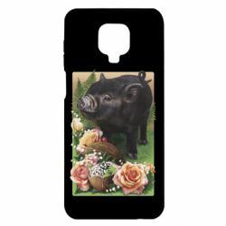 Чехол для Xiaomi Redmi Note 9S/9Pro/9Pro Max Black pig and flowers
