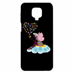 Чехол для Xiaomi Redmi Note 9S/9Pro/9Pro Max Fairy sits on a flower with butterflies