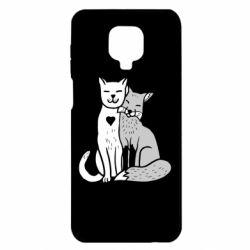 Чохол для Xiaomi Redmi Note 9S/9Pro/9Pro Max Fox and cat heart