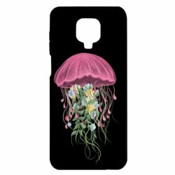 Чехол для Xiaomi Redmi Note 9S/9Pro/9Pro Max Jellyfish and flowers