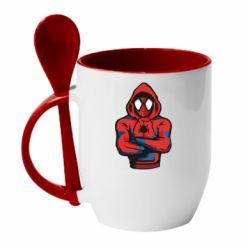 Кружка з керамічною ложкою Людина павук в толстовці