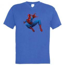 Мужская футболка  с V-образным вырезом Человек Паук