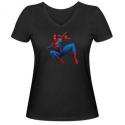 Женская футболка с V-образным вырезом Человек Паук - FatLine