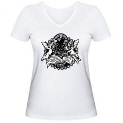 Женская футболка с V-образным вырезом Chemodan Clan Angels - FatLine