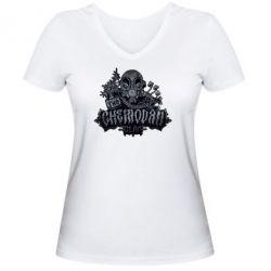 Женская футболка с V-образным вырезом Chemodan Clan Art - FatLine