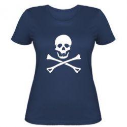 Женская футболка Череп и кости