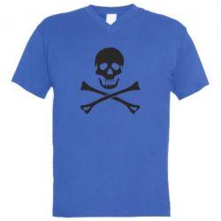 Мужская футболка  с V-образным вырезом Череп и кости