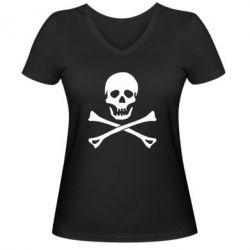 Женская футболка с V-образным вырезом Череп и кости