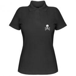 Женская футболка поло Череп и кости