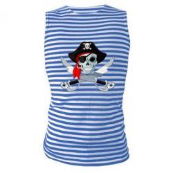 Майка-тельняшка Череп пирата