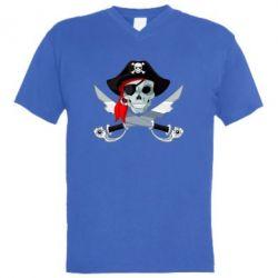 Мужская футболка  с V-образным вырезом Череп пирата