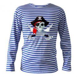 Тельняшка с длинным рукавом Череп пирата