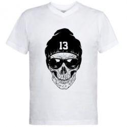 Мужская футболка  с V-образным вырезом Череп в шапке - FatLine