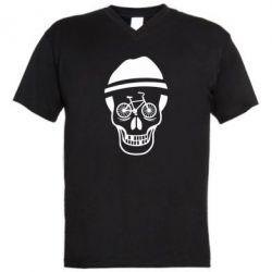 Мужская футболка  с V-образным вырезом Череп велосипедиста - FatLine