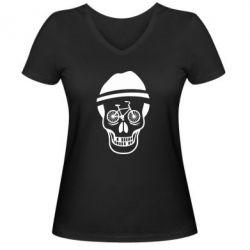 Женская футболка с V-образным вырезом Череп велосипедиста