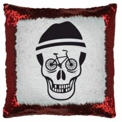 Подушка-хамелеон Череп велосипедиста
