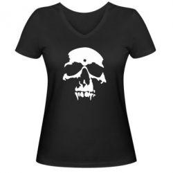 Женская футболка с V-образным вырезом Череп - FatLine