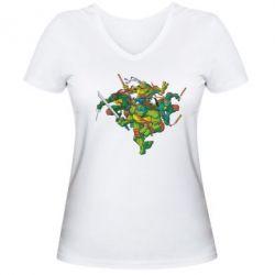 Женская футболка с V-образным вырезом Черепашки-ниндзя - FatLine