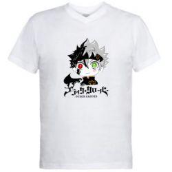 Мужская футболка  с V-образным вырезом Черный клевер Аста
