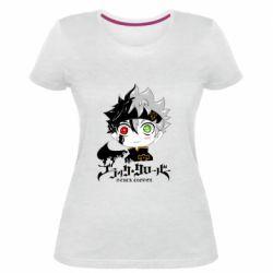 Женская стрейчевая футболка Черный клевер Аста
