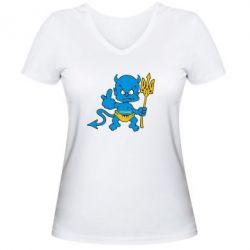 Женская футболка с V-образным вырезом Чертик з трезубом - FatLine