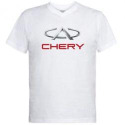 Мужская футболка  с V-образным вырезом Chery Logo - FatLine