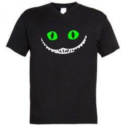 Мужская футболка  с V-образным вырезом чеширский кот - FatLine