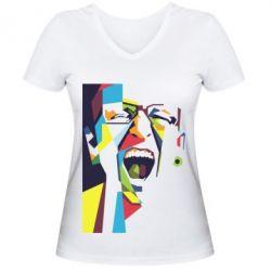 Жіноча футболка з V-подібним вирізом Chester Bennington Art