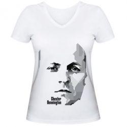 Женская футболка с V-образным вырезом Честер Беннингтон