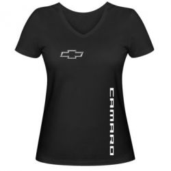 Женская футболка с V-образным вырезом Chevrolet Camaro - FatLine