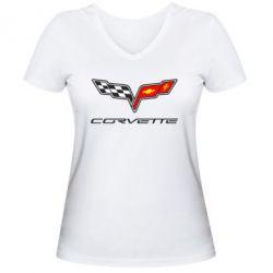 Женская футболка с V-образным вырезом Chevrolet Corvette - FatLine