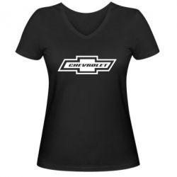 Женская футболка с V-образным вырезом Chevrolet Log - FatLine
