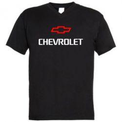 Мужская футболка  с V-образным вырезом CHEVROLET - FatLine