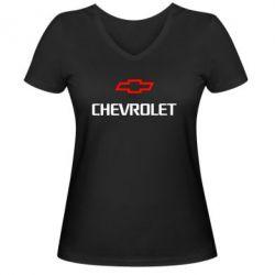 Женская футболка с V-образным вырезом CHEVROLET - FatLine