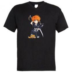 Мужская футболка  с V-образным вырезом Chibi Kurosaki Ichigo Bleach