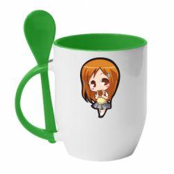 Кружка з керамічною ложкою Chibi Orihime Bleach