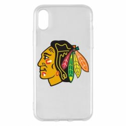 Чехол для iPhone X Chicago Black Hawks - FatLine
