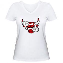 Женская футболка с V-образным вырезом Chicago Bulls бык - FatLine