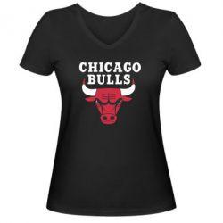 Женская футболка с V-образным вырезом Chicago Bulls Classic - FatLine