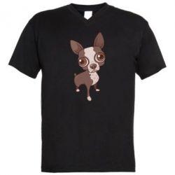 Мужская футболка  с V-образным вырезом Чихуахуа