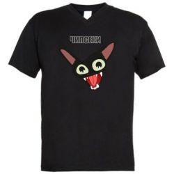 Мужская футболка  с V-образным вырезом Чипсеки кот мем