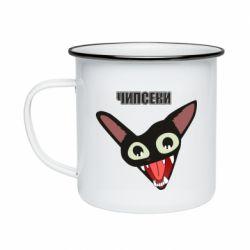 Кружка эмалированная Чипсеки кот мем